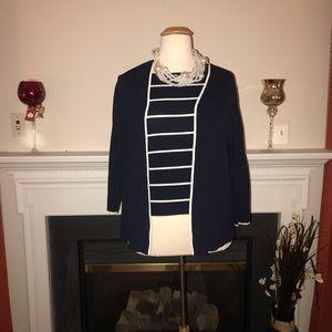 Dialogue | Women's Navy Plus Size Cardigan Set